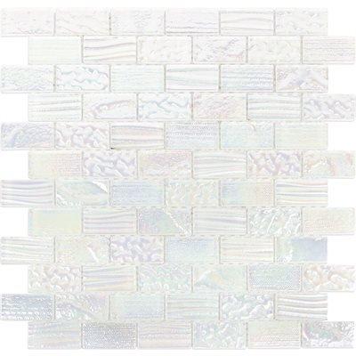 Glass tile mosaic Aqueous Series. Iridescent White 1x2 Blue Iridescent Tile Flooring