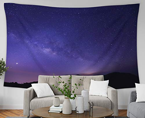 Pamime Wall Hanging Tapestries, Home Decor Tapestry The Panorama Milky Way Galaxy Stars Space Dust in The Universe Dorm Room Bedroom Living Room 80x60 Inches(200x150cm) Bedspread InHouse - Milky Panorama Way