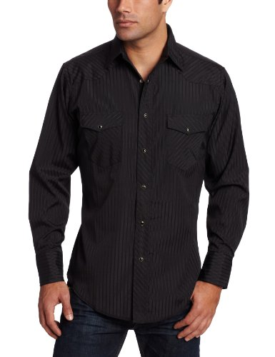 Wrangler Men's Tall Sport Western Snap Shirt Dobby Stripe, Black, X-Large Tall