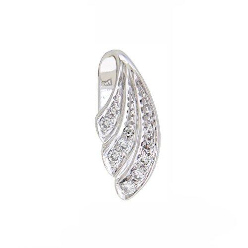 Or Blanc 18 ct Pendentifs Diamant , 0.14 Ct Diamant, GH-SI, 1.16 grammes.