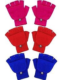 Boao 3 Pairs Kids Fingerless Mittens Convertible Flip Top Gloves Children Soft Knitted Gloves for Boys Girls (Color 2)
