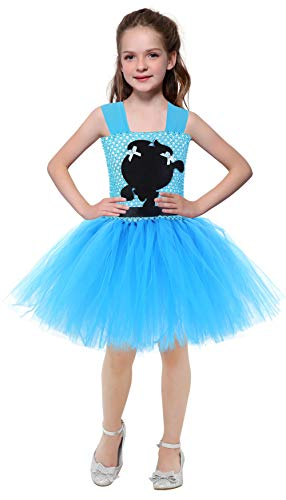 AQTOPS Girls Bubbles Dress Costumes Party Powerpuff Girl Role Play Tutu Dresses Blue]()