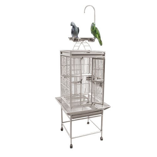 A&E Cage Company 18 x18  Play Top Cage with 5 8  Bar Spacing, White