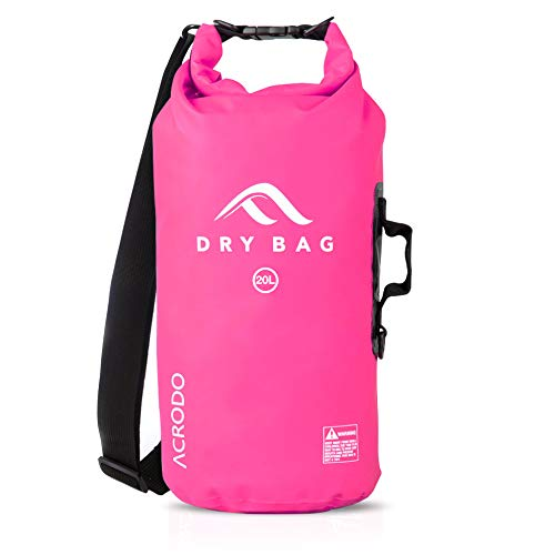 Acrodo Waterproof Dry Bag - Pink 20 Liter Floating Sack for Beach, Kayaking, Swimming, Boating, Camping, Travel & Gifts