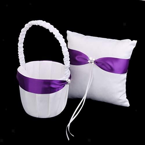 BROSCO Wedding Satin Crystal Ribbon Bowknot Flower Girl Basket Ring Bearer Pillow