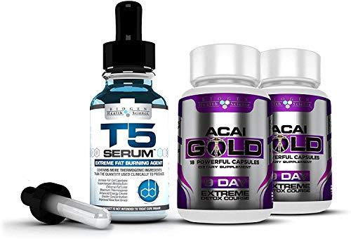 Complete Detox & Slimming/Weight Loss Bundle – T5 Fat burners Serum XT & Acai Berry Gold: (Maximum Strength 1 Month…