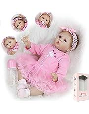 ZIYIUI Reborn 22 tum 55 cm Reborn docka mjuk simulering silikon vinyl realistisk baby återfödd docka flicka leksak för åldrarna 3+