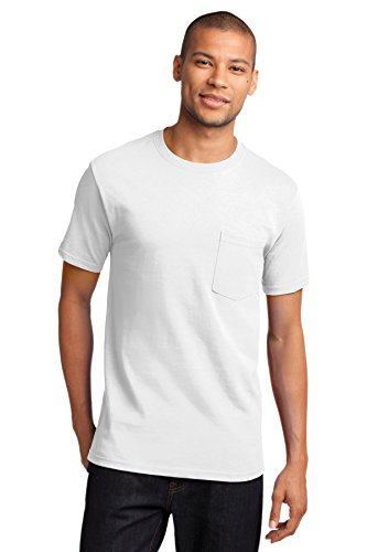 (Port & Company Men's Tall Essential T Shirt with Pocket 2XLT White)