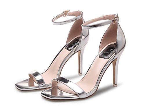 Talons New Cuir Fashion Hauts Verni à Sexy Amérique JAZS® Sweet pour Style Toe Femmes Chaussures Mode en et Silver Open Sexy la Sandales à Élégant Mode Europe Été 1wwAEHPq