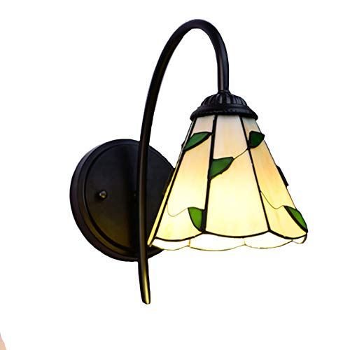TopDeng Tiffany style Wall lights, Vintage Multicolored Wall lamp Single Stained Glass Decorative Wall light Mirror lamp (Gift light LED 7w)-Green 17x25cm (Lights Outdoor Stained Wall Glass)