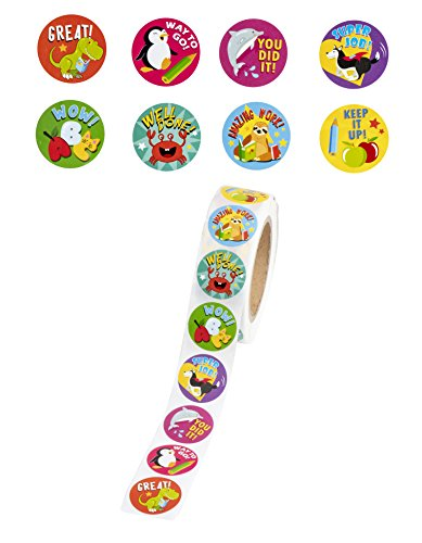 Reward Stickers - 1000-Count Encouragement Sticker Roll for Kids, Motivational Stickers with Cute Animals for Students, Teachers, Classroom Use, 8 Designs, 1.5 Inches Diameter by Juvale