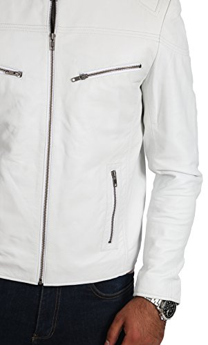 Herren Echtes Leder Radfahrer-Stil Jacke Reißverschluss Stehen Kragen Mantel Atom Weiß