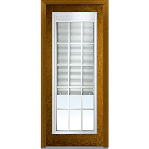 National Door Company Z022047R Entry Door Prehung Right Hand Internal Mini Blinds with Muntins Fiberglass Oak Full Lite 36 x 80