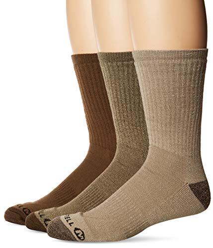 Merrell Men's 3 Pack Cushioned Performance Hiker Socks (Low/Quarter/Crew Socks), Olive (Crew), Shoe Size: 9.5-12