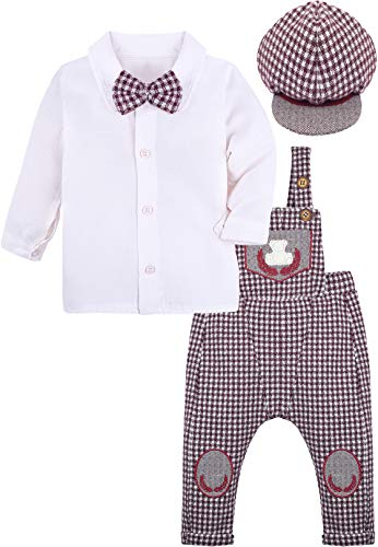 Lilax Baby Boys Gentleman Infant Outfit Long Sleeve White Shirt, Jumpsuit and Hat 3 Piece Set 18M ()