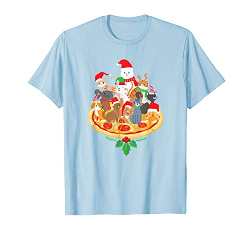 Santa Kitten Cat Pizza Santa Hat Christmas Cat Lover T-Shirt