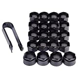 MICKYMIN 16pcs 17mm Hex Wheel Bolt Nut Cap Covers with 4pcs Locking Ones Plus Removal Tool Universal Black for Any Cars