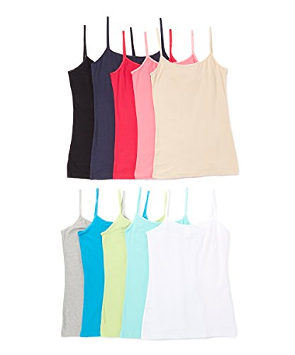 Girls Seamless Solid Color Active Stretch Camisole Tank Tops with Adjustable Straps - Pack of 6, 10, or 12