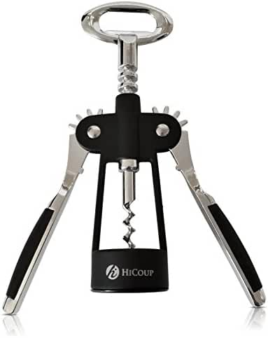 Wing Corkscrew Wine Opener by HiCoup - Premium All-in-one Wine Corkscrew and Bottle Opener With Bonus Wine Stopper