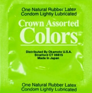 Colors Condoms (Crown Assorted Colors Ultra Thin Sheerlon Latex Condoms By Okamoto with Silver Pocket/Travel Case-36 Count)
