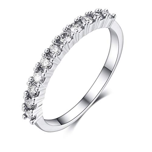 - Madeone ✦18K White Gold Plating Excellent Cut Cubic Zirconia CZ Stone Single Row 3 Stackable Eternity Wedding Bridal Ring for Women Hypoallergenic with Box Packing Size 5-10 (White, 6)