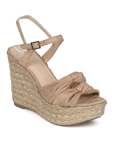 Alrisco Espadrille Platform Dames Sleehak - Double Knotted Wedge Sandaal - Summer Trendy Tijdloze Chic Leuke Girls Night Sandaal - Hc68 By Wild Diva Lounge Collectie Natural Faux Suede