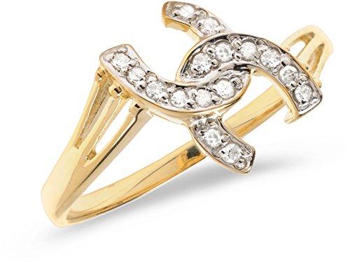 14K Yellow Gold Diamond Horseshoe Ring (Size (Yellow Gold Diamond Horseshoe Ring)