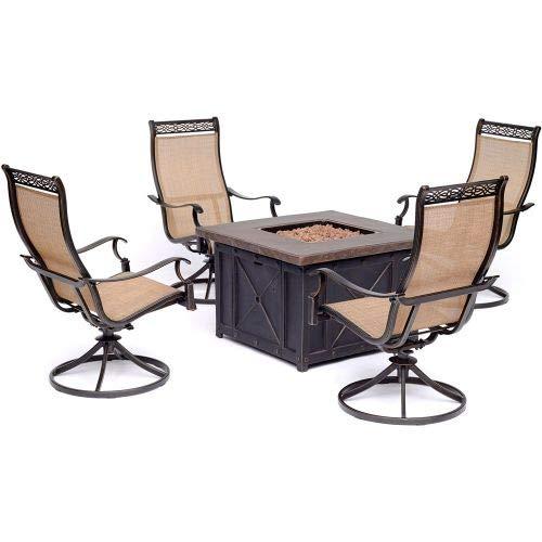 Hanover MON5PCSW4DFP Monaco 5-Piece Fire Pit Chat Set Outdoor Furniture, Tan (Sets Fire Pit Chat)