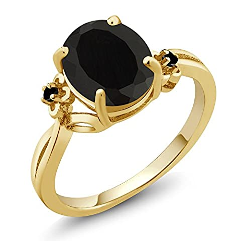 2.22 Ct Oval Black Onyx Diamond Yellow Gold Plated Sterling Silver Ring - Sterling Silver Diamond Antique Ring