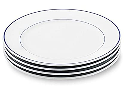 Amazon.com: Apilco Tradition Blue-Banded Porcelain Dinner Plates ...
