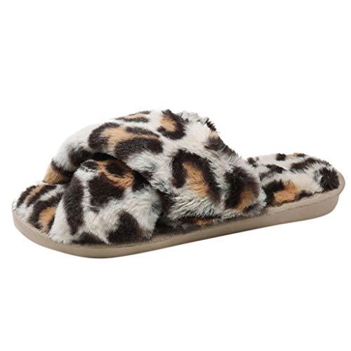 WOCACHI Plush Slippers, Women Warm Leopard Plush Soft Slippers IndoorsAnti-Slip Floor Bedroom Shoes Coral Velvet Indoor Non-Slip Cotton Slipper Solid Cute Footwear Sole Casual Round Toe Flat Beige
