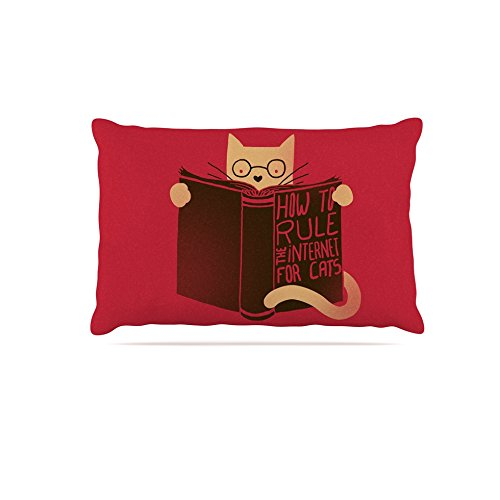 30 by 40\ Kess InHouse Tobe Fonseca How to Rule the Internet for Cats  Red Typography Fleece Dog Bed, 30 by 40