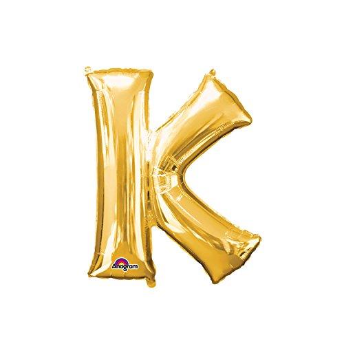 Regina 106479.7, Balão Metalizado Super Shape Letra K Pack, Dourado