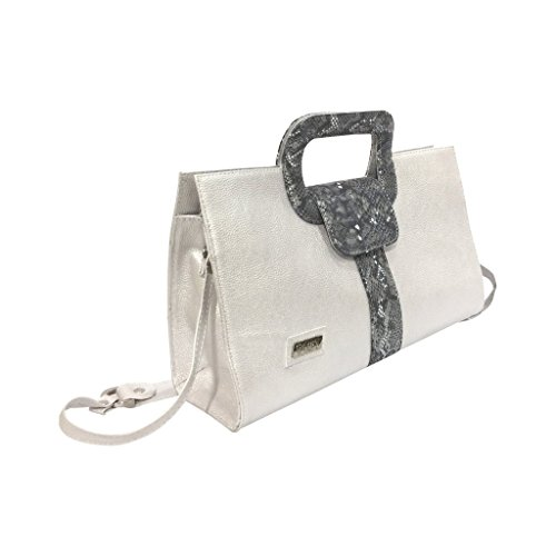 Gaspy Elena Women's Formal Evening Handbag, 100 Percent Colombian Leather (Silver Gray, Granular Pattern with Folia) by Gaspy
