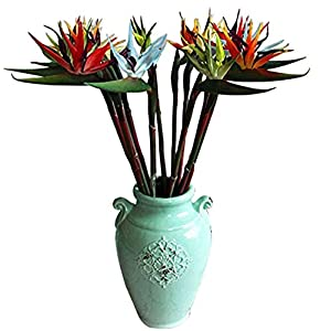 """Maylife 31.5"""" Real Touch Bird of Paradise Artificial Flowers Bouquet for Home Garden Decoration/Wedding Party Decor (Package Quantity: 5 Pcs, Blue)"""
