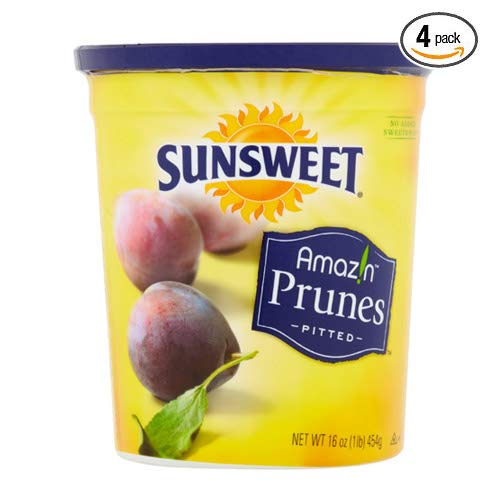 Sunsweet Amazin Prunes, Pitted Prunes, 16 oz Containers of Plump, Sweet & Juicy Dried Plums - Pack of 4 by Sunsweet