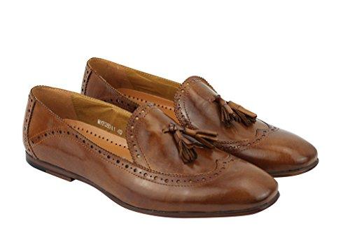 Pour Homme Marron Clair Vintage mod 2Pompon Flâneur antidérapant sur Chaussures richelieu en cuir véritable