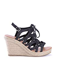 GALLY Women's Wedge-Style Casual Sandals, Black