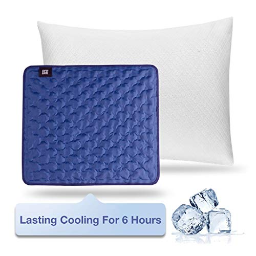 Super White Cooling Pillow for Sleeping - Memory Foam Pillow with Washable Zipper Cover and Cooling Pad, Adjustable Cool Orthopedic Pillow for Bed - Standard