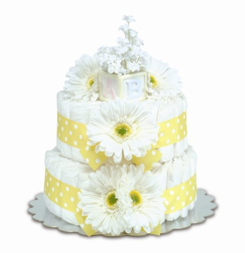 Bloomers Baby Diaper Cake Classic Yellow Gerbera Daisies 2-Tier from Bloomers