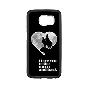 I Love You To The Moon And Back Black Stylish Cover Case For Samsung GALAXY S6 with high-quality Silicon Rubber