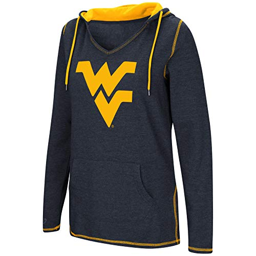 - Colosseum Women's NCAA-Scream It!- Dual Blend-Fleece V-Neck Hoodie Pullover Sweatshirt-West Virginia Mountaineers-Navy-Medium