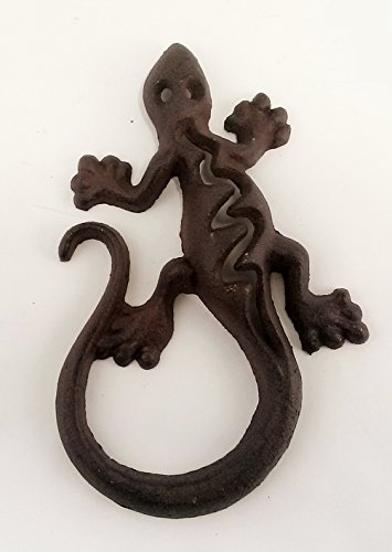 Aunt Chris' Products - Cast Iron Lizard/Geico - All-Purpose Nature Decor - Primitive Heavy Cast Iron - Wall Hung - Rustic Dark Bronze Finish - Indoor Or Outdoor Use