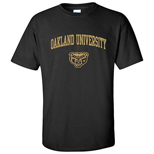 (AS03 - Oakland University Golden Grizzlies Arch Logo T-Shirt - Large - Black)