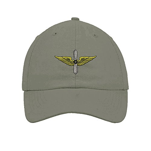 Army Aviation Embroidery Twill Cotton 6 Panel Low Profile Hat Light Grey Aviation Cap