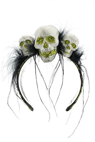 Bauer Pacific Women's Glitter Skull Trio Lace Feather Halloween Headband (Lime Green) (Bauer Lace)