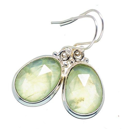 """Prehnite Earrings 1 3/8"""" (925 Sterling Silver) - Handmade Boho Vintage Jewelry EARR366459 from Ana Silver"""
