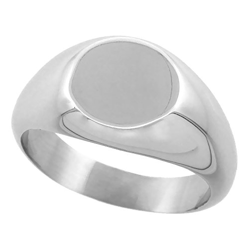 Surgical Stainless Steel Small Signet Ring for Women Solid Back Flawless Finish 3/8 inch round, size 9.5 - Ladies Personalized Signet Ring