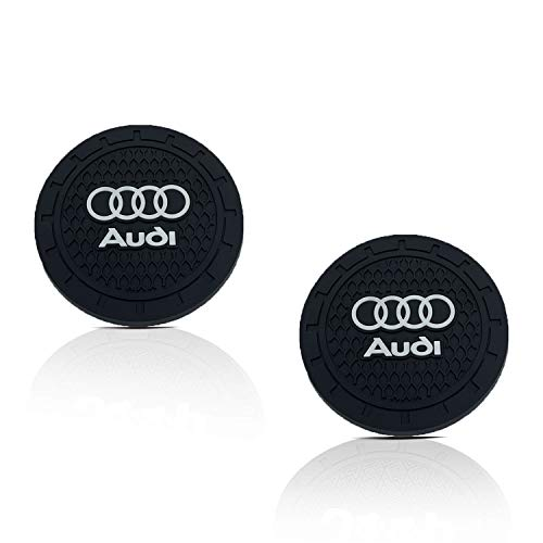 Auto Sport 2.75 Inch Diameter Oval Tough Car Logo Vehicle Travel Auto Cup Holder Insert Coaster Can 2 Pcs Pack Fit Audi Accessories