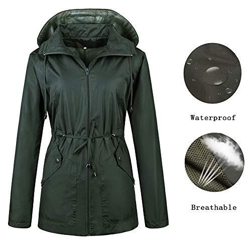 Black Travel Jacket (Daxvens Women Rain Jackets Waterproof Lightweight Raincoat Windbreaker with Hood Olive Green)